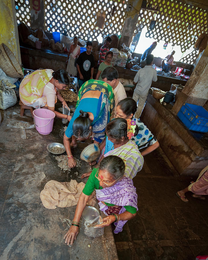 Goa, Inde - février 2008 - femmes faisant des emplettes au marché de Mapusa images stock