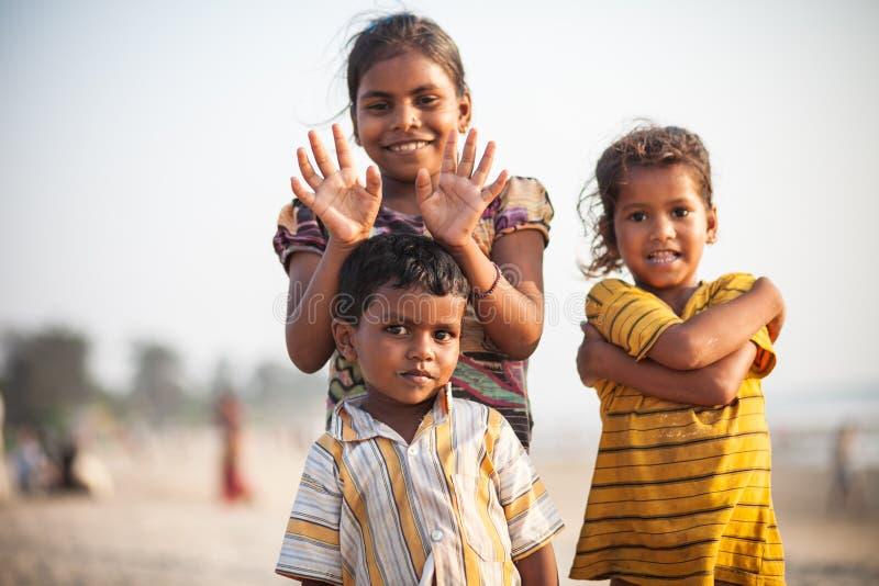 Indian children at beach, Goa royalty free stock photos