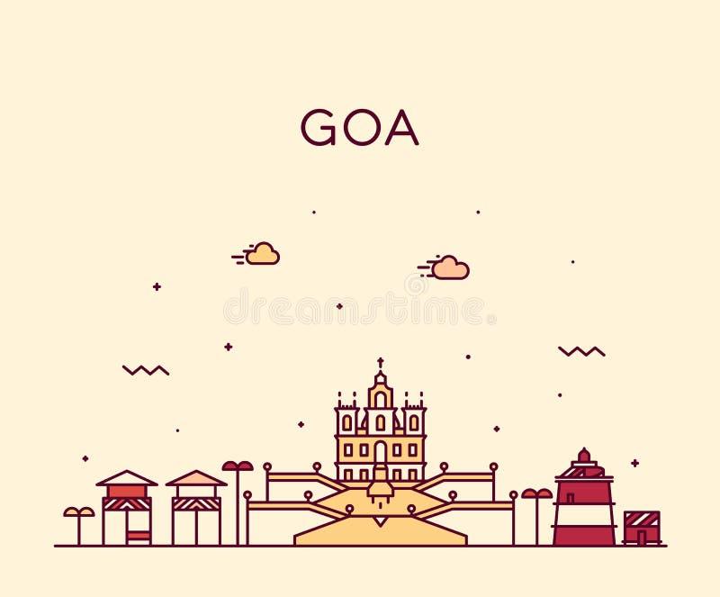 Goa linia horyzontu India wektorowy ilustracyjny liniowy styl ilustracji