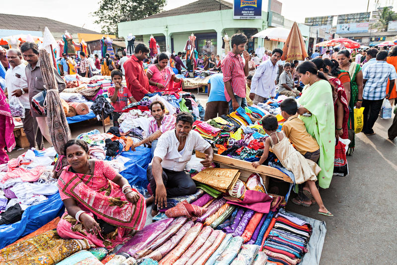 Goa marknad royaltyfria bilder