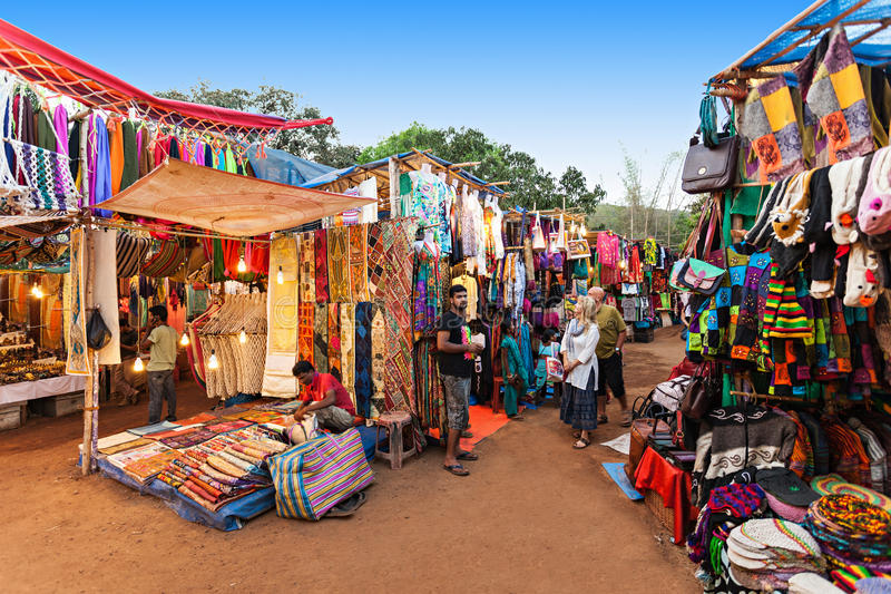 Goa nocy rynek obraz royalty free