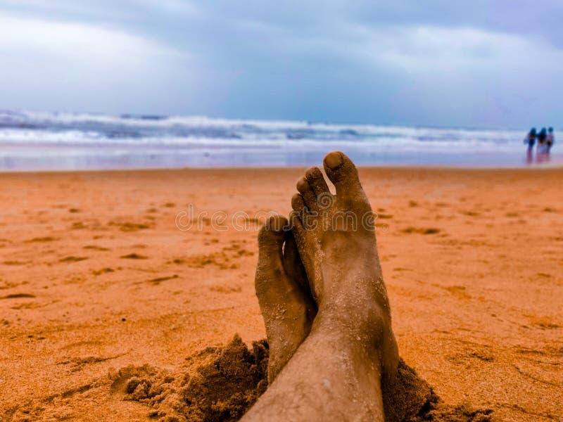 Goa plaża przy zmierzchem obraz stock