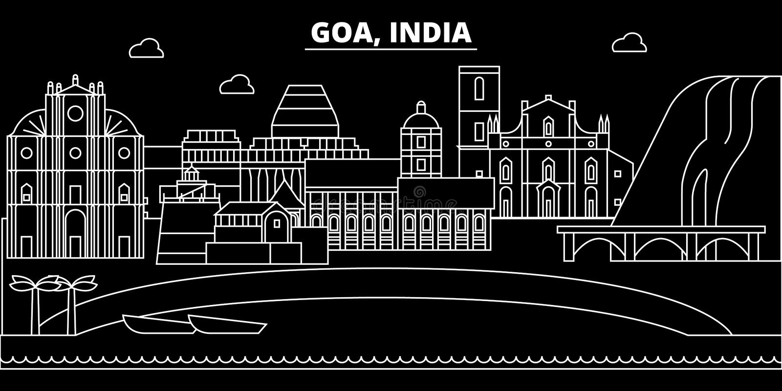 Goa silhouette skyline. India - Goa vector city, indian linear architecture, buildings. Goa travel illustration, outline. Goa silhouette skyline. India - Goa royalty free illustration