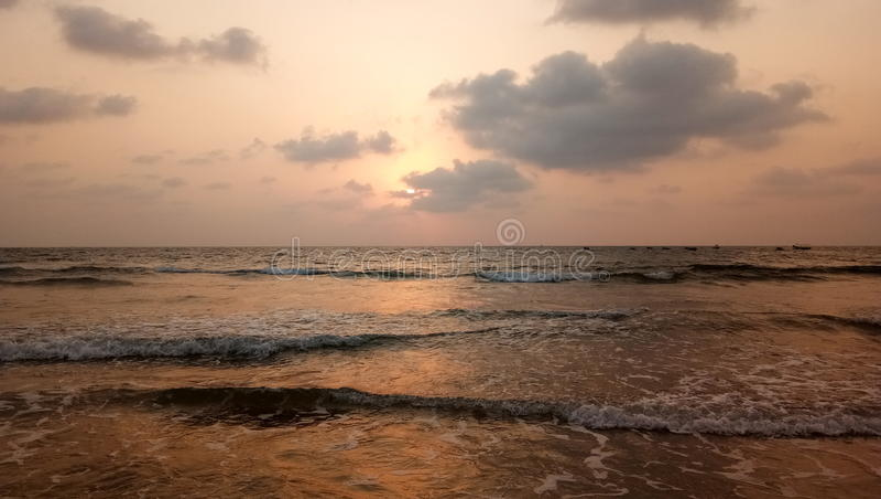 Goa solnedgång arkivfoton