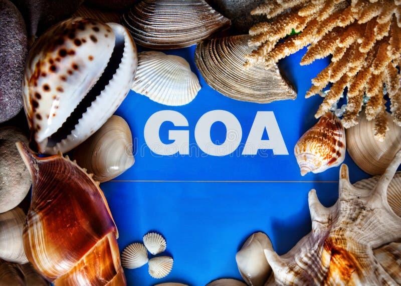Goa title in seashells frame royalty free stock photo