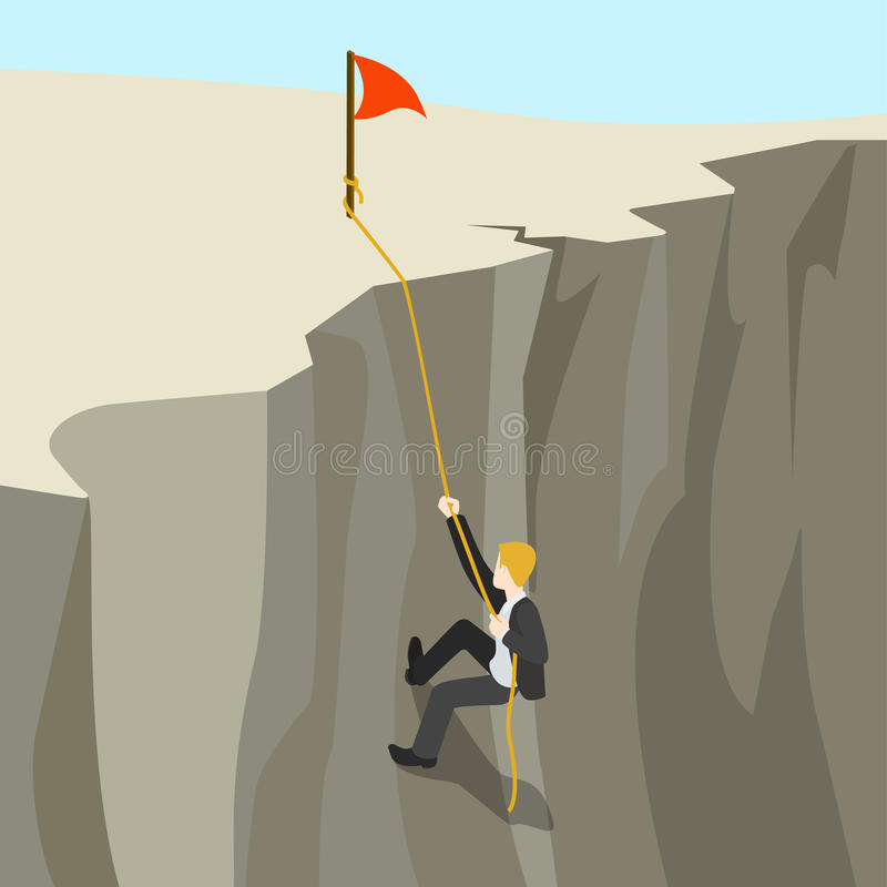 Goal achievement business concept flat 3d web isometric. Infographic . Businessman climbs on rope from abyss to the top new horizon. Creative people collection stock illustration