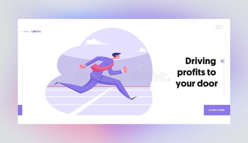 Goal Achievement Corporate Competition Website Landing Page. Running Business Man Crossing Finish Line. On Stadium. Successful Businessman Leadership Web Page royalty free illustration