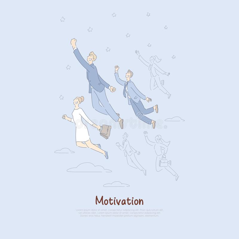 Goal achievement progress, men and women reaching for sky, business competition metaphor, motivation banner. Corporate workers flying upwards concept cartoon vector illustration