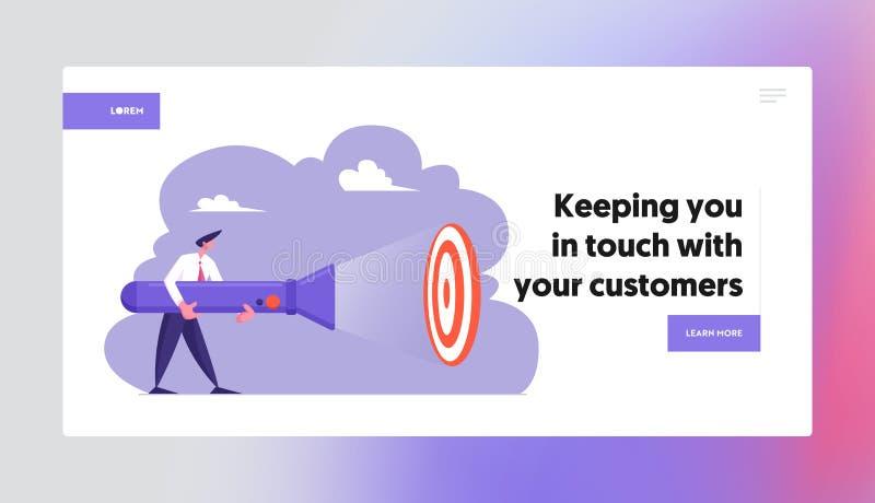 Goal Achievement Website Landing Page, Business Man Holding Huge Flashlight Lighting Up Aim, Uncovering Hidden Target. Searching Idea, Brainstorm, Web Page stock illustration