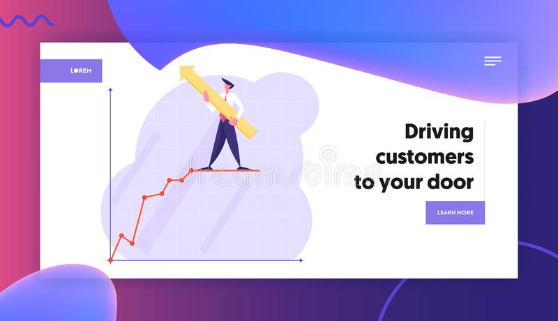 Goal Achievement Website Landing Page, Businessman with Huge Arrow in Hands Stand on Top of Growing Business Chart. On Coordinate System, Success Web Page royalty free illustration