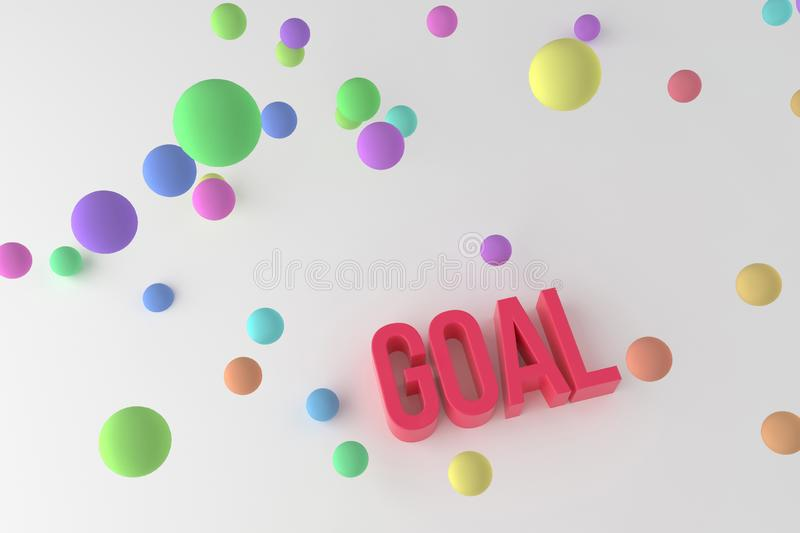 Goal, business conceptual colorful 3D rendered words. Positive, graphic, cgi & rendering. Goal, business conceptual colorful 3D rendered words. Decorative stock illustration