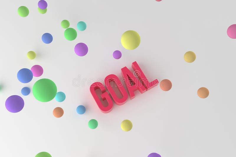 Goal, business conceptual colorful 3D rendered words. Text, cgi, rendering & communication. Goal, business conceptual colorful 3D rendered words. Good for web royalty free illustration