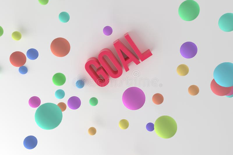 Goal, business conceptual colorful 3D rendered words. Wallpaper, alphabet, rendering & text. Goal, business conceptual colorful 3D rendered words. Background royalty free illustration