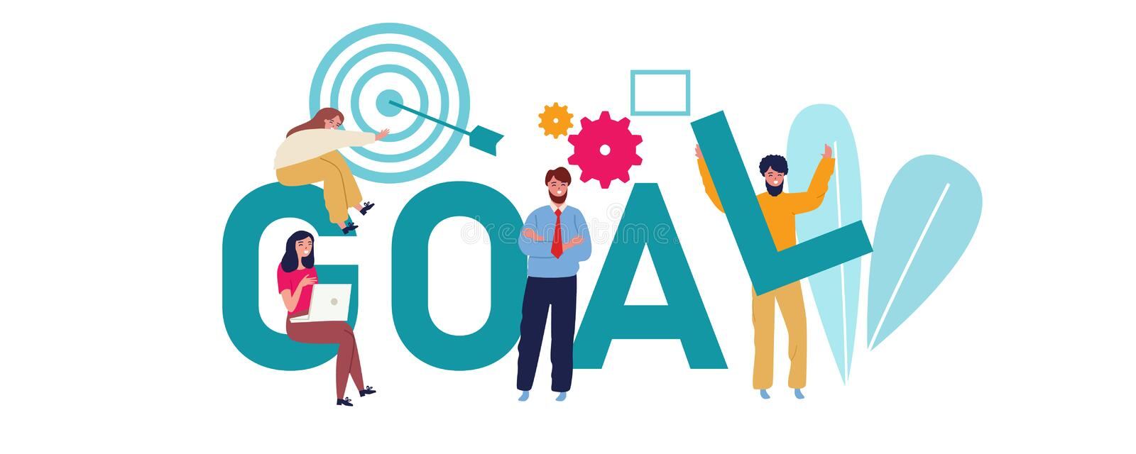 Goal concept businessman aiming the target. Team work together to achieve target illustration. stock illustration