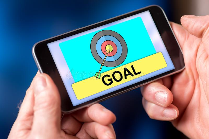 Goal concept on a smartphone stock photos