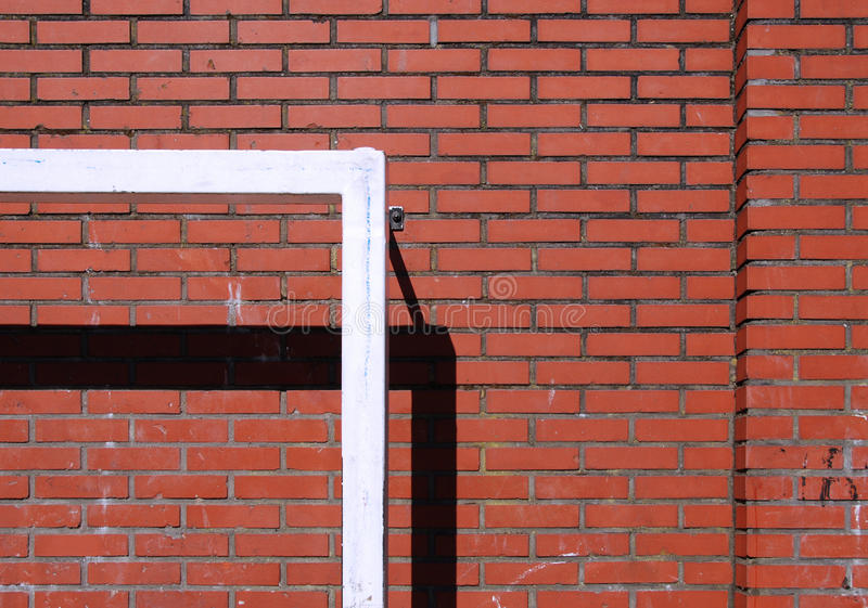 Urban soccer goal playground. Goal post against brick wall in order to play soccer. The photo was taken in Rotterdam (Netherlands stock photos