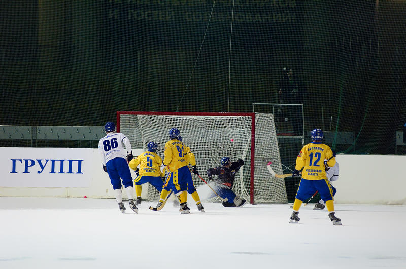 Goal in a gate of bandy team Zorkiy royalty free stock images