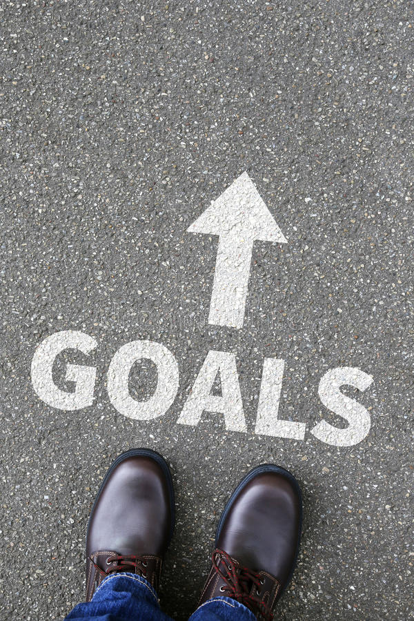 Goal goals to success aspirations and growth business concept. Goal goals to success aspirations and growth targets business concept stock image