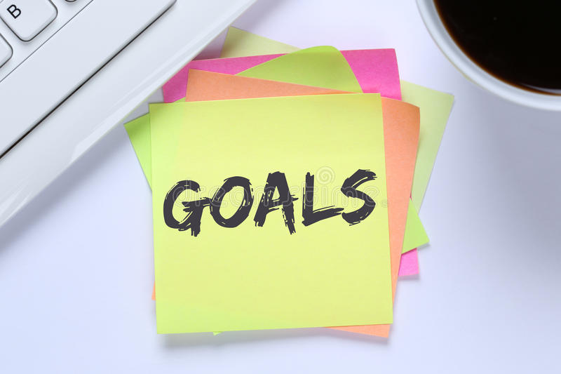 Goal goals to success aspirations and growth desk. Computer keyboard royalty free stock photography
