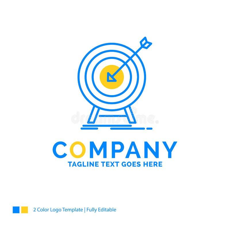 goal, hit, market, success, target Blue Yellow Business Logo tem royalty free illustration