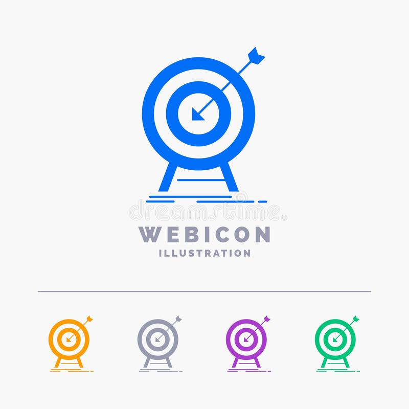 goal, hit, market, success, target 5 Color Glyph Web Icon Template isolated on white. Vector illustration stock illustration