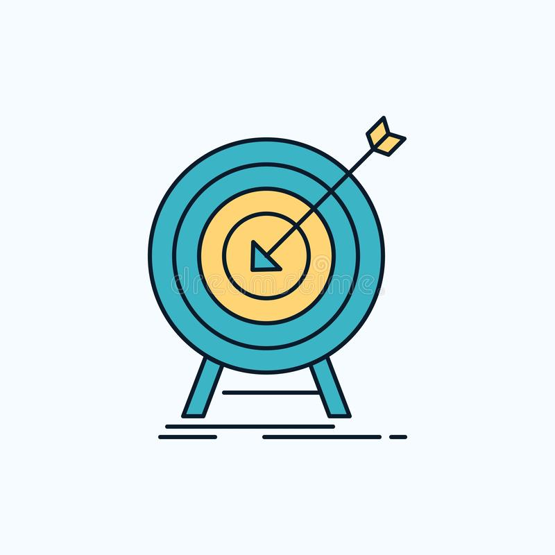 goal, hit, market, success, target Flat Icon. green and Yellow sign and symbols for website and Mobile appliation. vector royalty free illustration