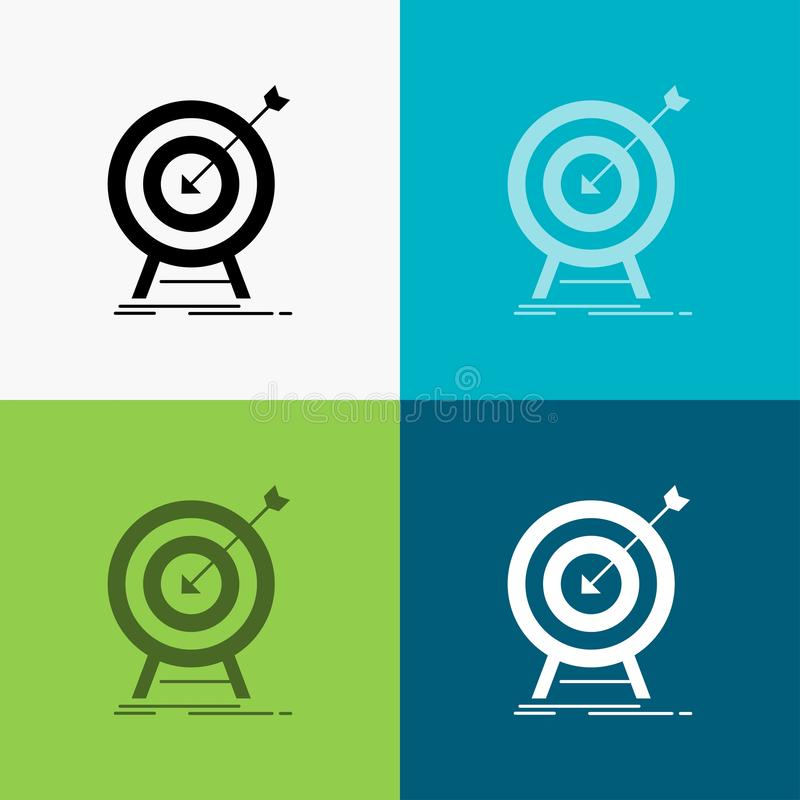 goal, hit, market, success, target Icon Over Various Background. glyph style design, designed for web and app. Eps 10 vector stock illustration