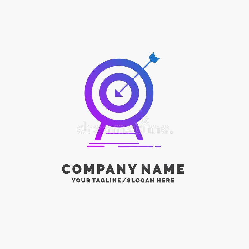 goal, hit, market, success, target Purple Business Logo Template. Place for Tagline royalty free illustration
