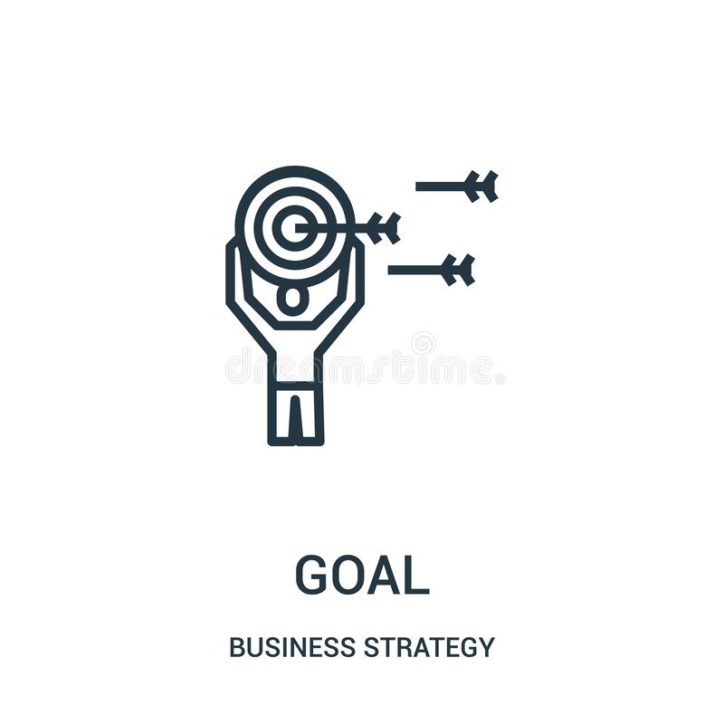 Goal icon vector from business strategy collection. Thin line goal outline icon vector illustration. Linear symbol for use on web and mobile apps, logo, print royalty free illustration