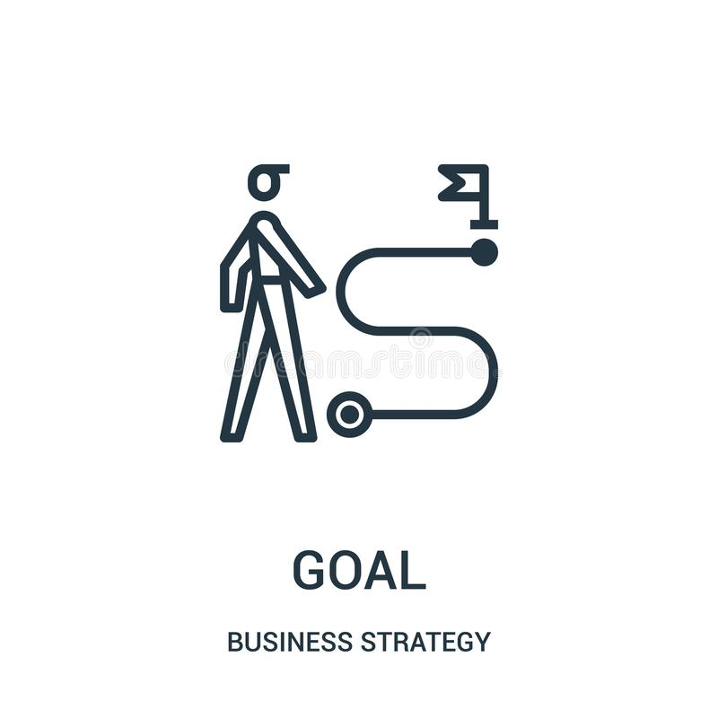 Goal icon vector from business strategy collection. Thin line goal outline icon vector illustration. Linear symbol for use on web and mobile apps, logo, print stock illustration