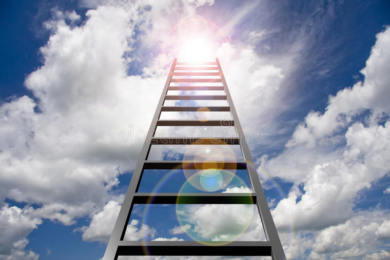 Goal. Ladder reaches upward into light stock images