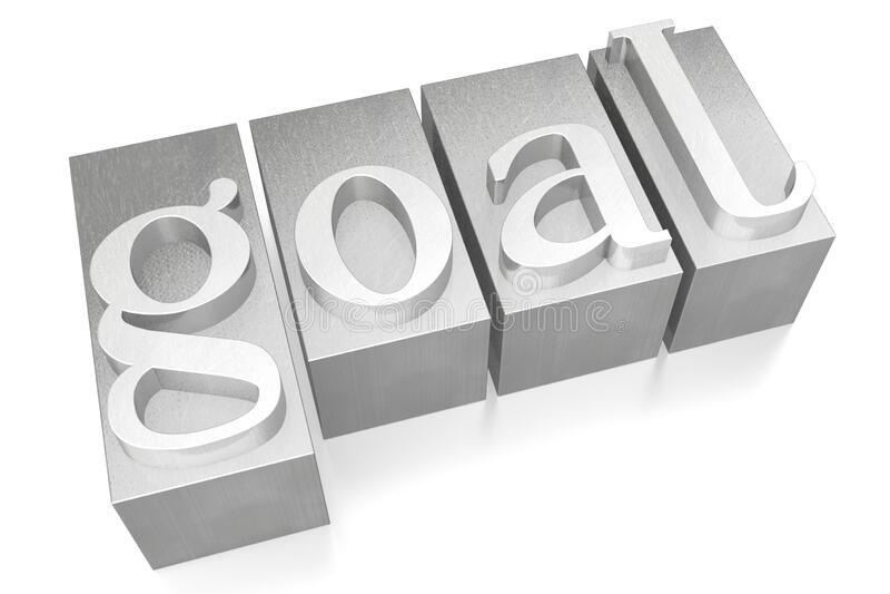 Goal - silver letterpress - 3D illustration royalty free stock image