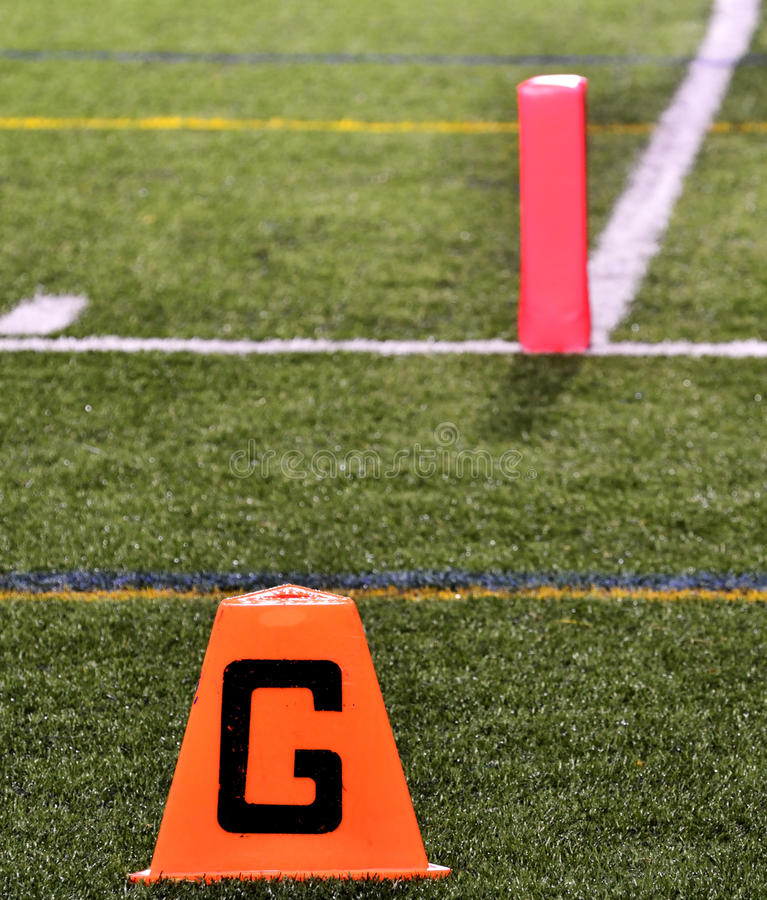goal line on american football field royalty free stock photos
