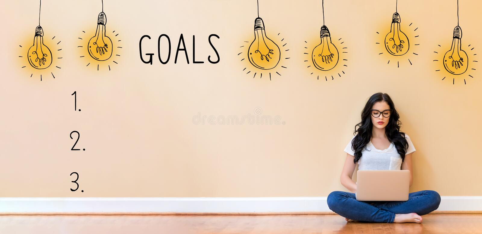 Goal list with woman using a laptop. Goal list with young woman using a laptop computer royalty free stock images