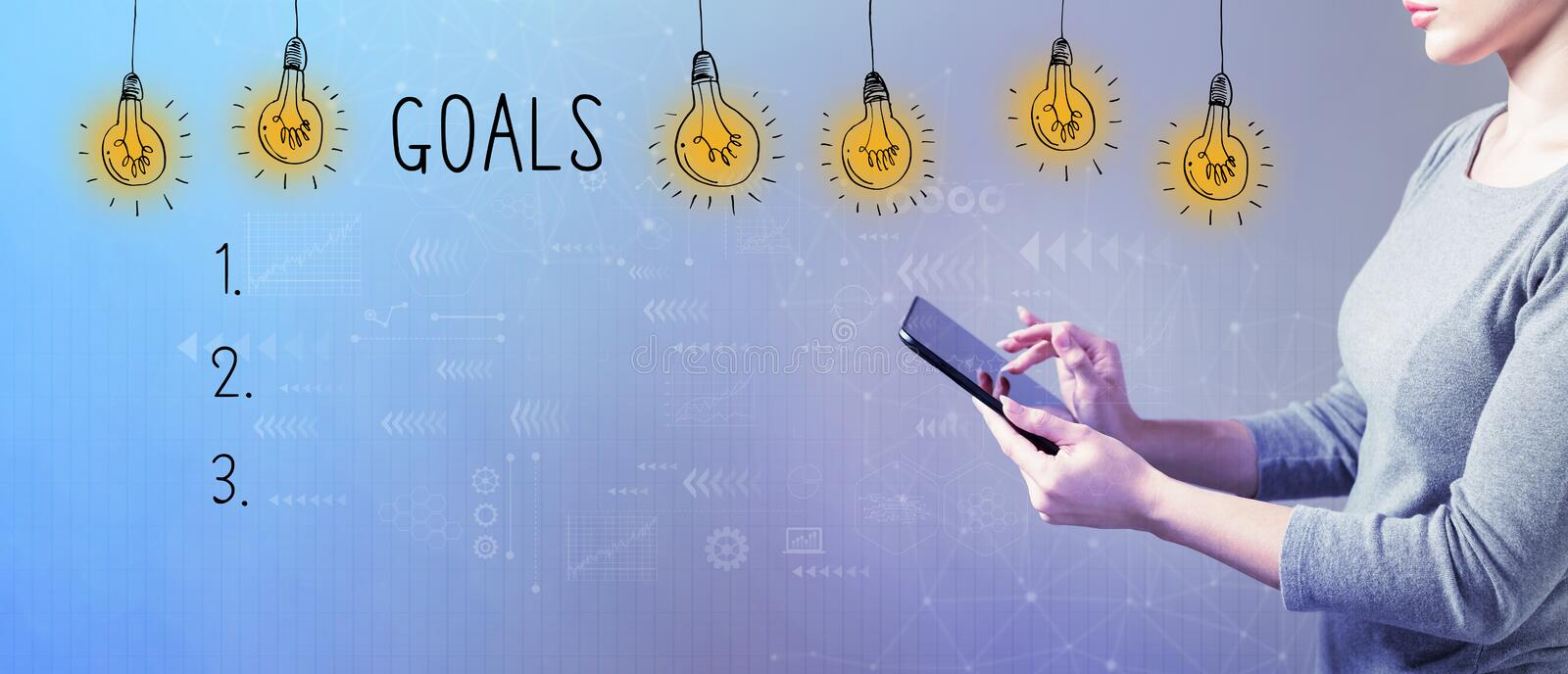 Goal list with woman using a tablet royalty free stock image
