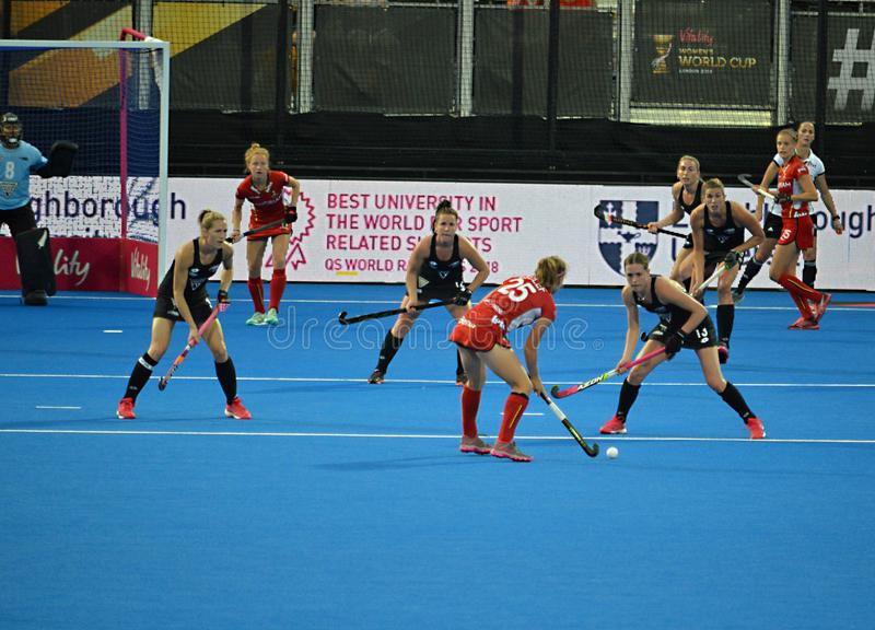 New Zealand Versus Belgium Womens Hockey world cup. Action Shot Lee Valley Hockey and Tennis Centre Venue of FIH Womens hockey world cup London 2018 royalty free stock images