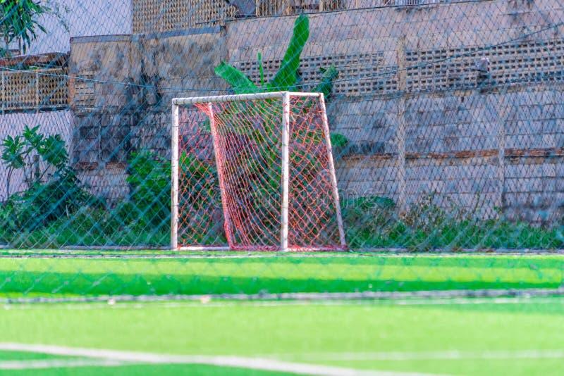 Goal of an outdoor football soccer training field. Goal Line of an outdoor football soccer training field stock photo
