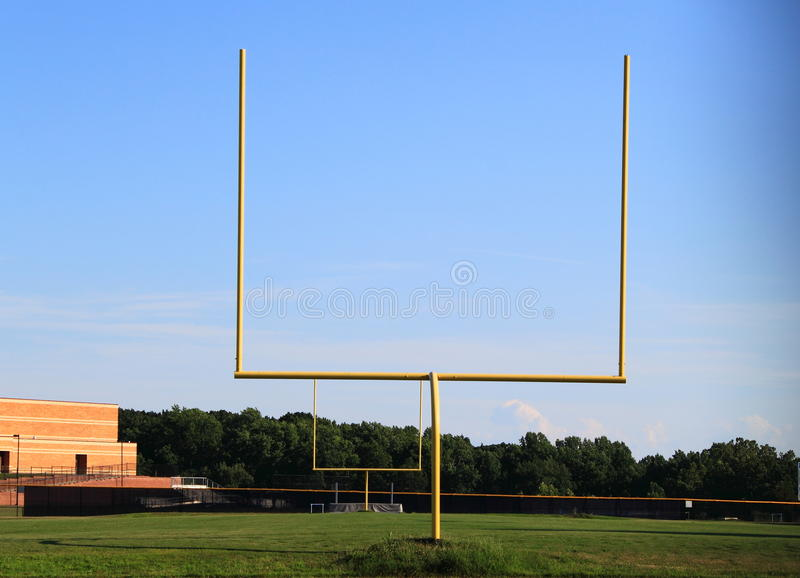 Goal Post. Of American football on blue sky background stock photography