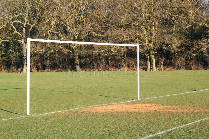 Goal posts on a soceer pitch.