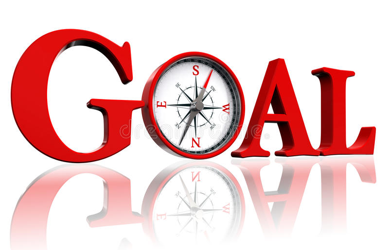Goal red word and conceptual compass royalty free illustration