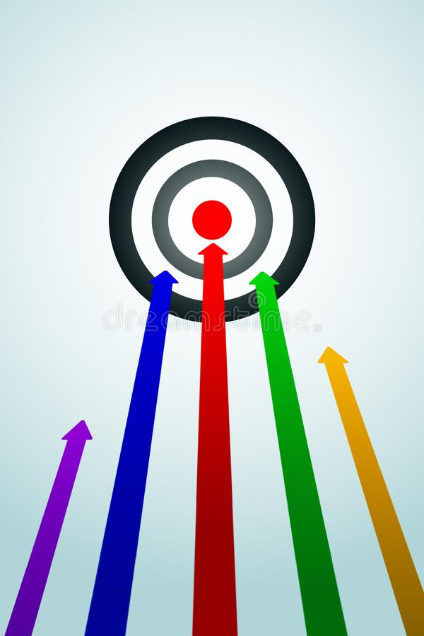 Goal and success concept. Creative background with bulls eye and colorful arrows. Goal and success concept. 3D Rendering vector illustration