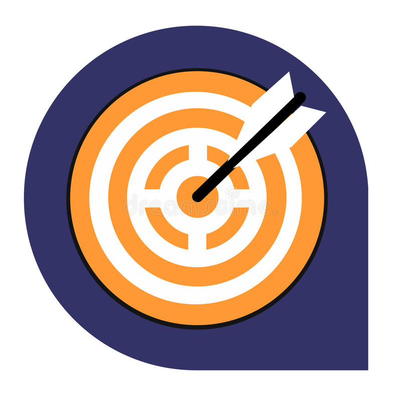 Goal or target icon of set tricolor stock images