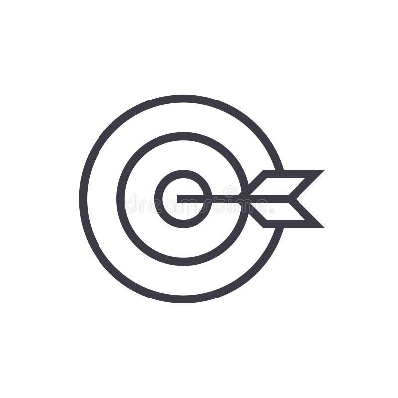 Goal target vector line icon, sign, illustration on background, editable strokes vector illustration