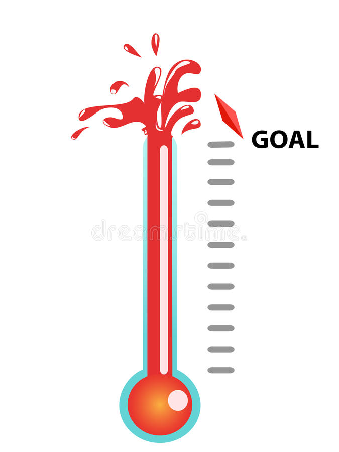 Goal thermometer. Thermometer graphic showing breaking the goal