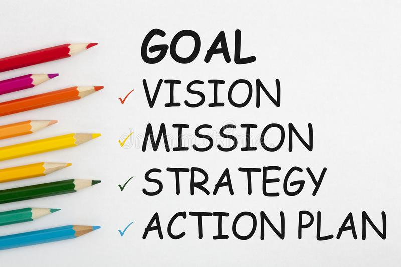 Goal Vision Mission Strategy Action Plan stock photo
