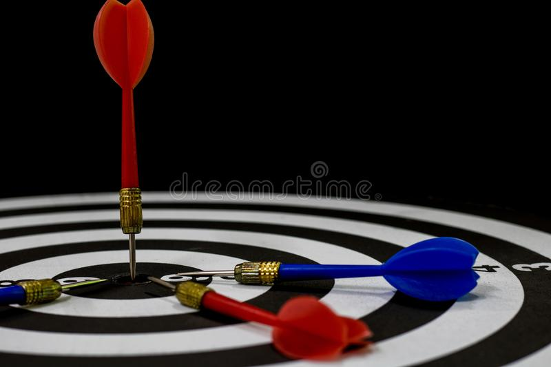Goal, winner and target in business concept, dart lacing on boar stock images