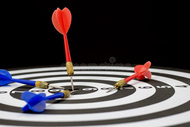 Goal, winner and target in business concept, dart lacing on boar stock photo