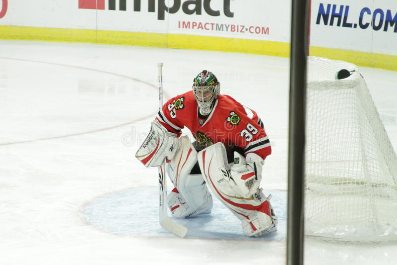 Goalie do NHL Chicago Blackhawk imagens de stock