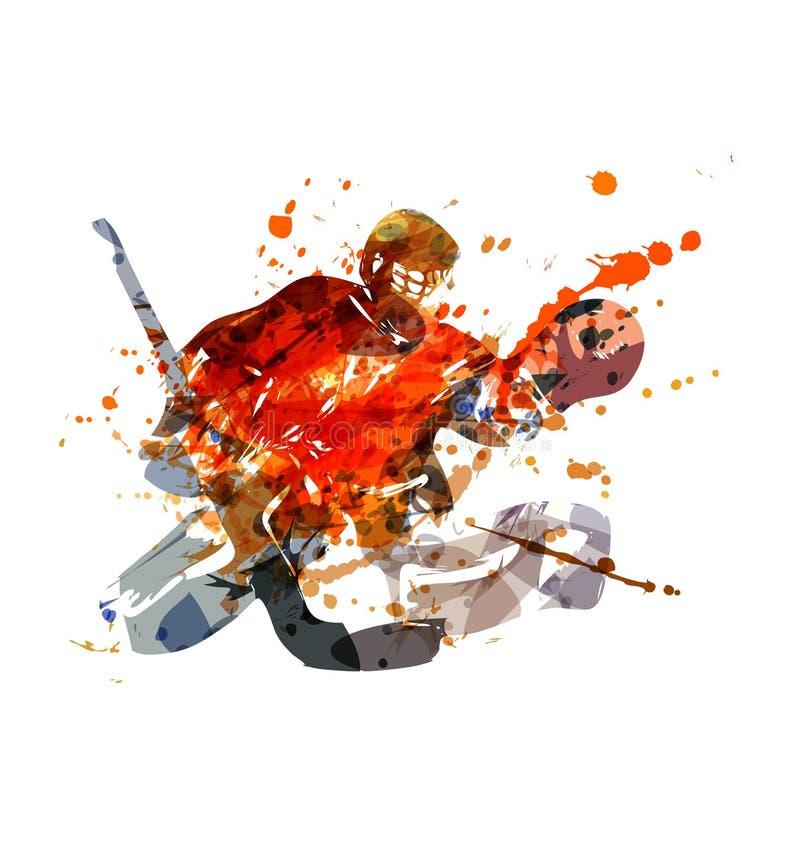 Goalie för vektorillustrationhockey royaltyfri illustrationer