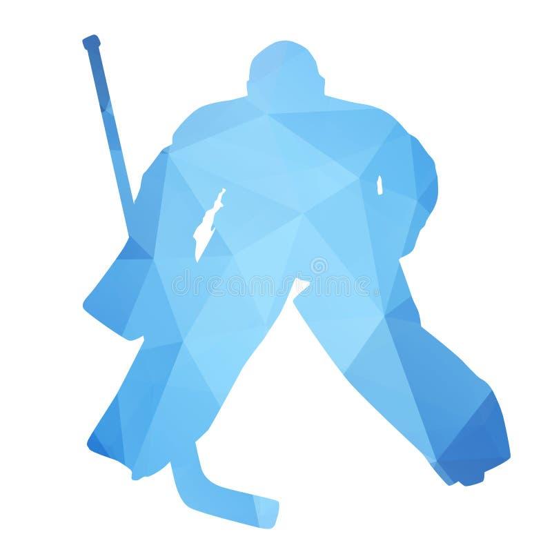 Goalie för vektorkonturhockey stock illustrationer